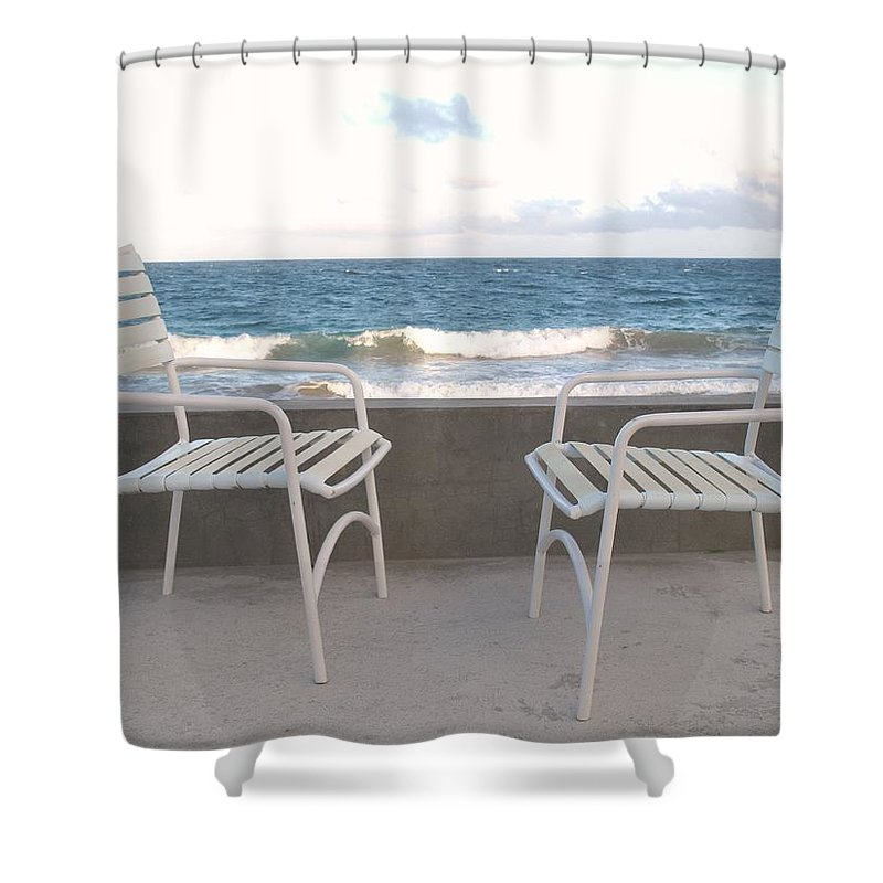 Seascape Shower Curtain featuring the photograph The Meeting by Ian MacDonald