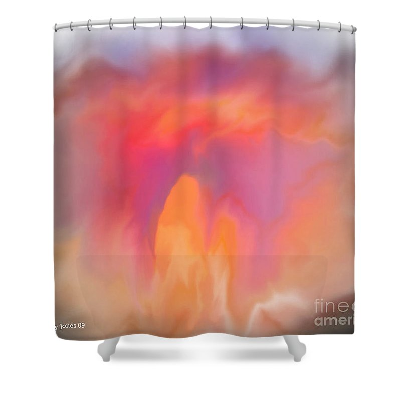 Computer Art Shower Curtain featuring the digital art The Meeting Place by Shelley Jones
