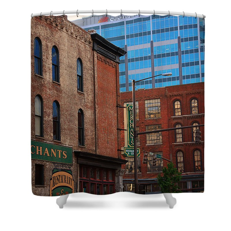 The Merchants Shower Curtain featuring the photograph The Merchants Nashville by Susanne Van Hulst