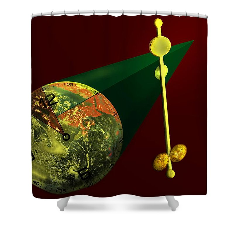 Earth Shower Curtain featuring the digital art The Metronome by Helmut Rottler