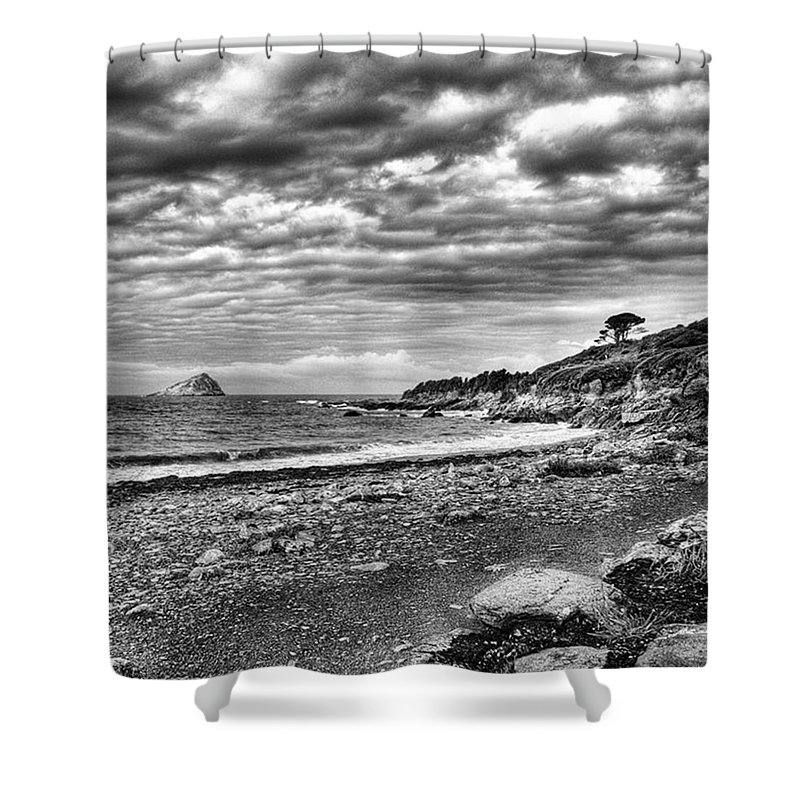 Devonshire Shower Curtain featuring the photograph The Mewstone, Wembury Bay, Devon #view by John Edwards