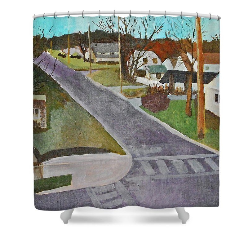 Landscape Shower Curtain featuring the painting The Midwest by Lauren Luna