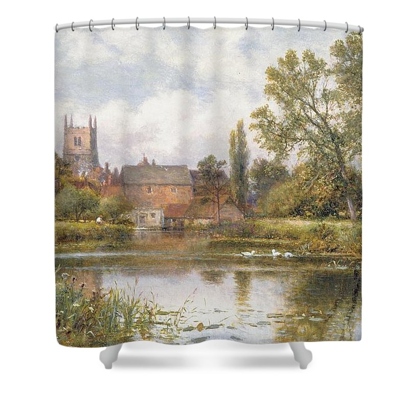Village; Pond; Ducks; Church; Tower; Mill; English Landscape; Victorian; Rural; England; Tranquil; Peaceful Shower Curtain featuring the painting The Millpond by Alfred Glendening
