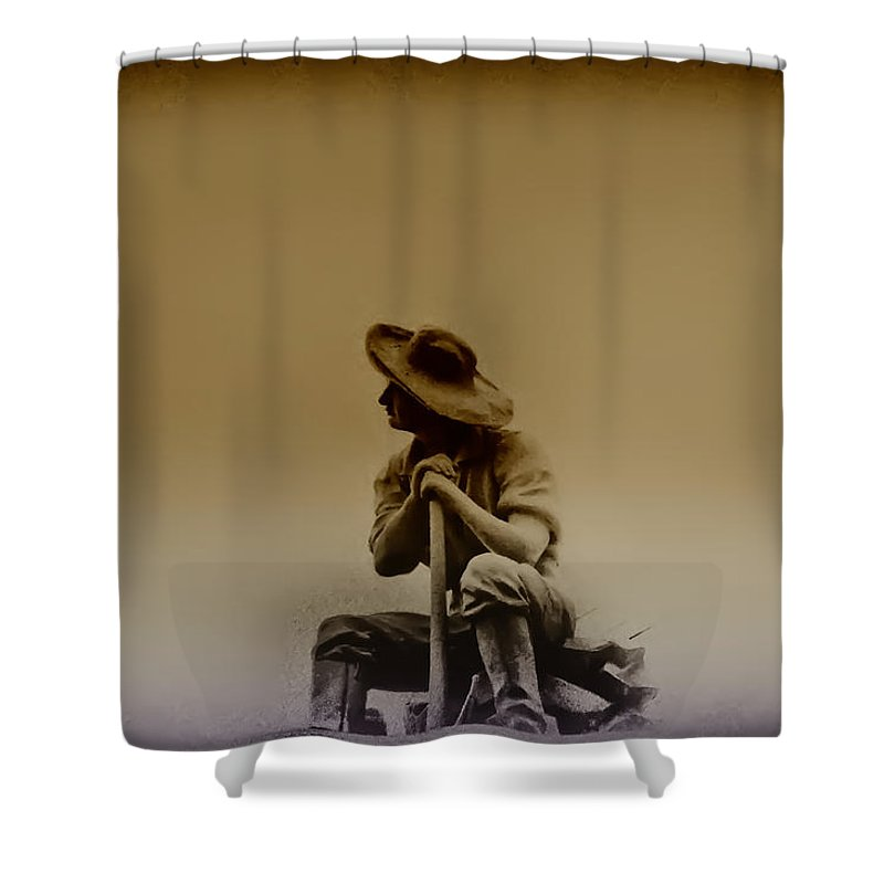 Philadelphia Shower Curtain featuring the photograph The Miner by Bill Cannon