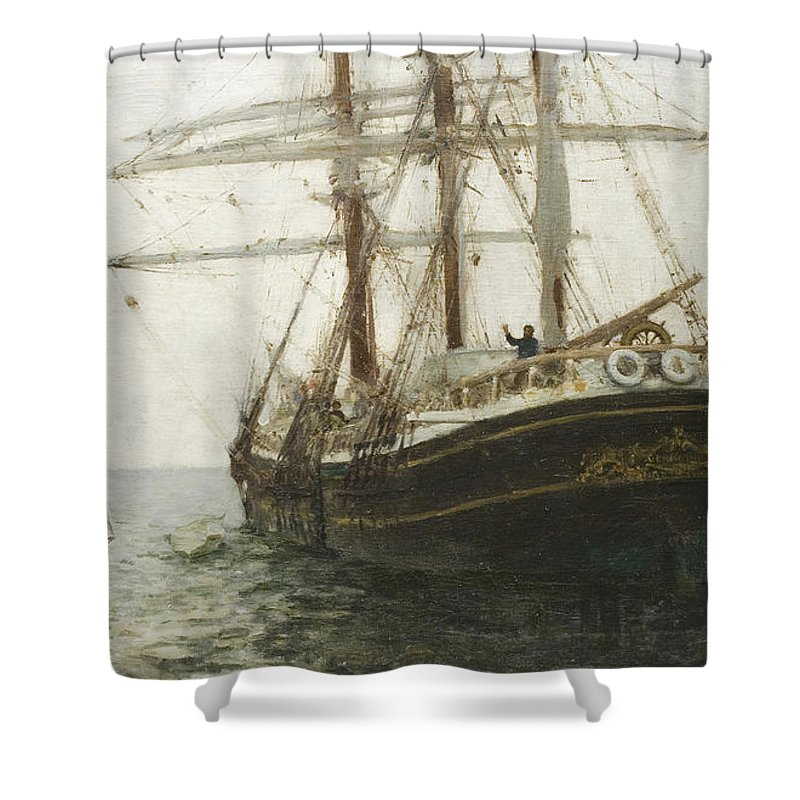 The Missionary Boat Shower Curtain Featuring Painting By Henry Scott Tuke