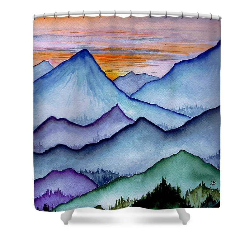 Landscape Shower Curtain featuring the painting The Misty Mountains by Brenda Owen