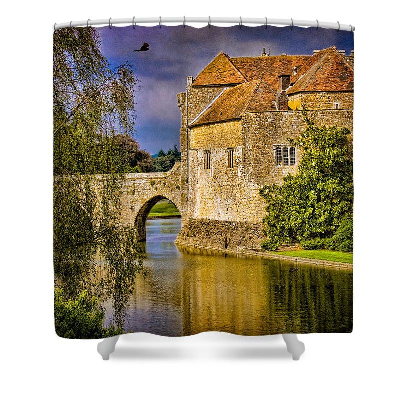 Castle Shower Curtain featuring the photograph The Moat At Leeds Castle by Chris Lord
