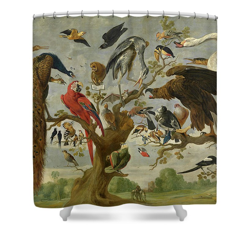 Owl Shower Curtain featuring the painting The Mockery Of The Owl by Jan van Kessel