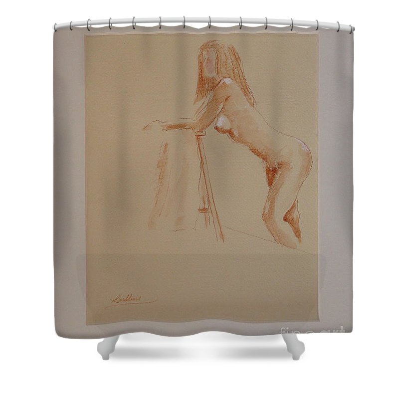 Nude Shower Curtain featuring the drawing The Model Rests by David Sullins