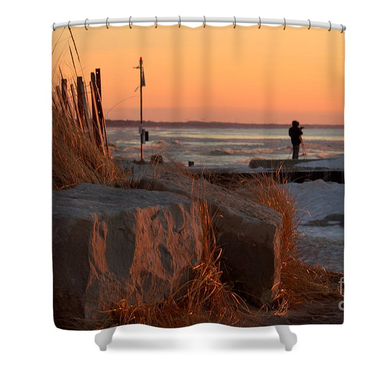Grand Bend Shower Curtain featuring the photograph The Moment 8 by John Scatcherd