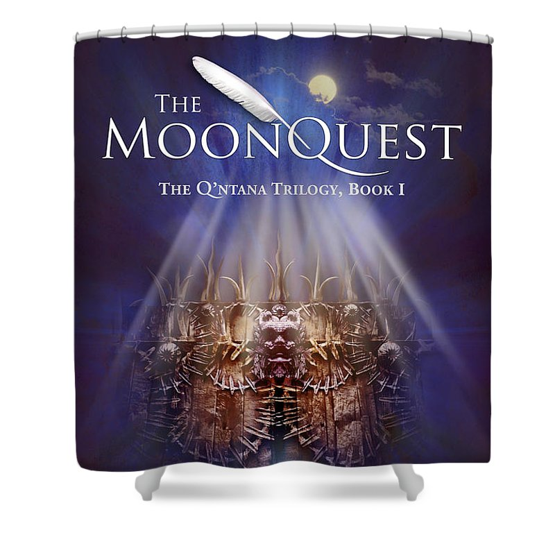 Book Cover Shower Curtain featuring the digital art The Moonquest Book Cover by Mark David Gerson