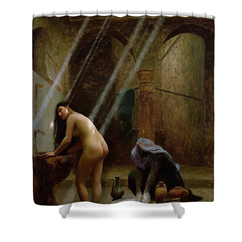 The Moorish Bath By Jean Leon Gerome (1824-1904) Shower Curtain featuring the painting The Moorish Bath by Jean Leon Gerome
