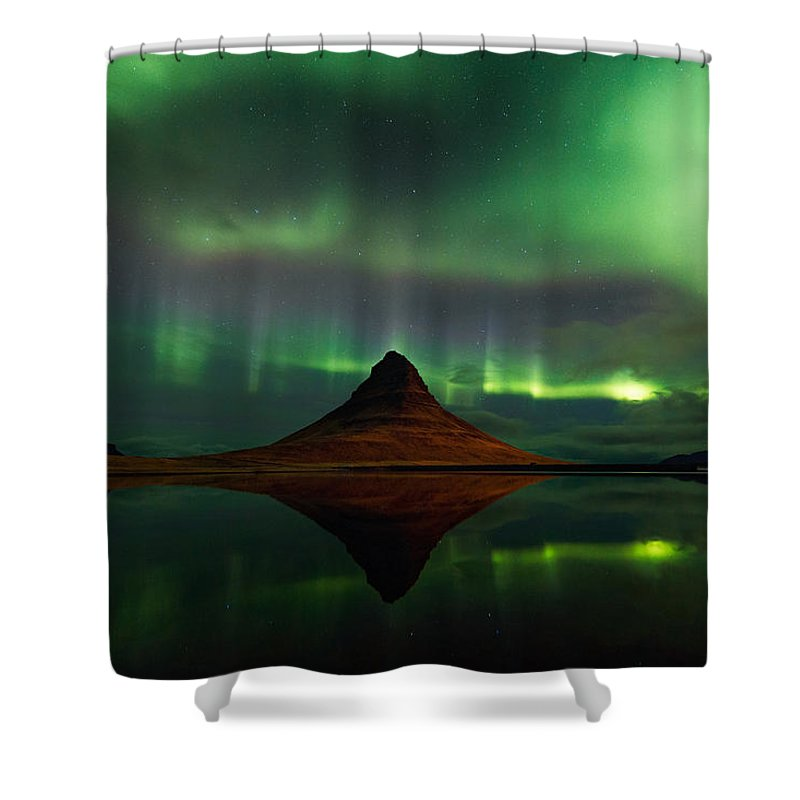 Landscape Shower Curtain featuring the photograph The Mountain And The Dancer by Jacopo Costantini