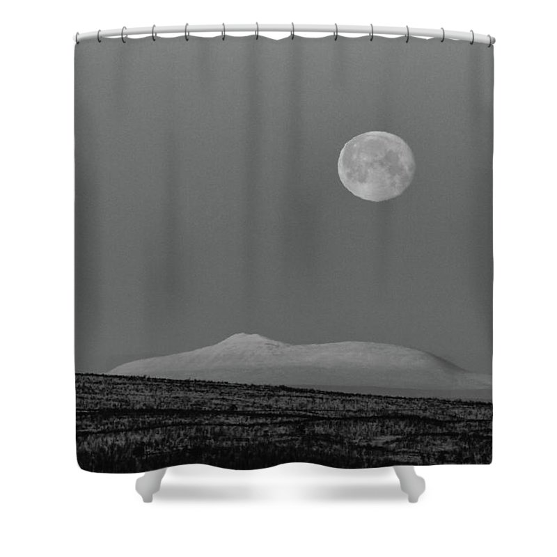Landscape Shower Curtain featuring the photograph The Mountain And The Moon by Pekka Sammallahti