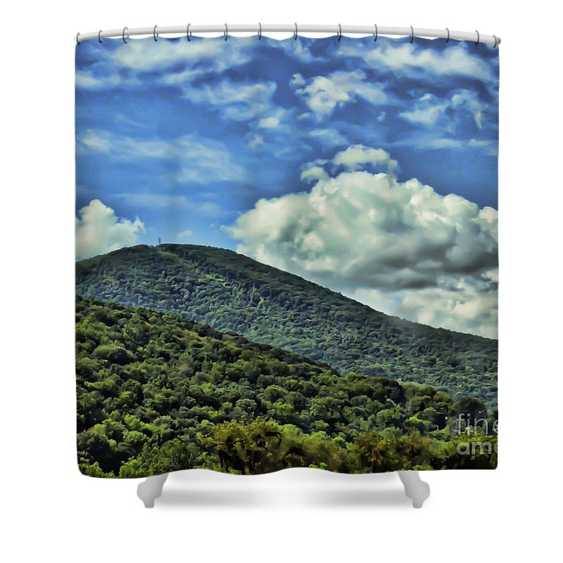 Mountain Shower Curtain featuring the photograph The Mountain Meets The Sky by Kerri Farley