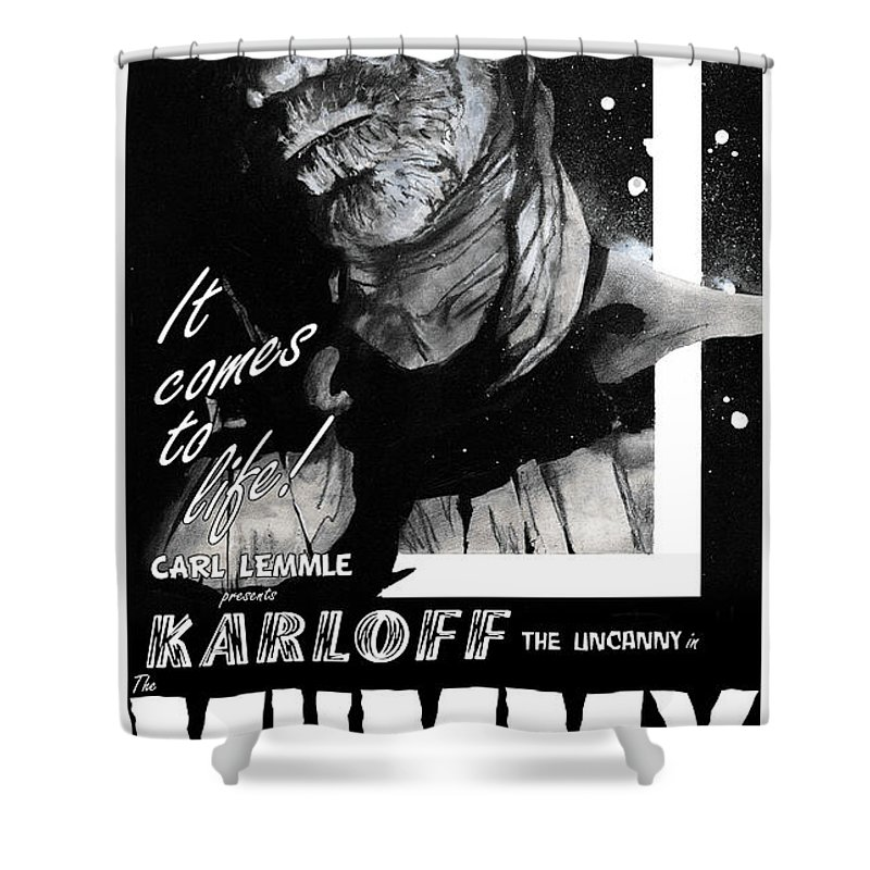 Mummy Shower Curtain featuring the painting The Mummy 1932 Movie Poster With Tagline by Sean Parnell