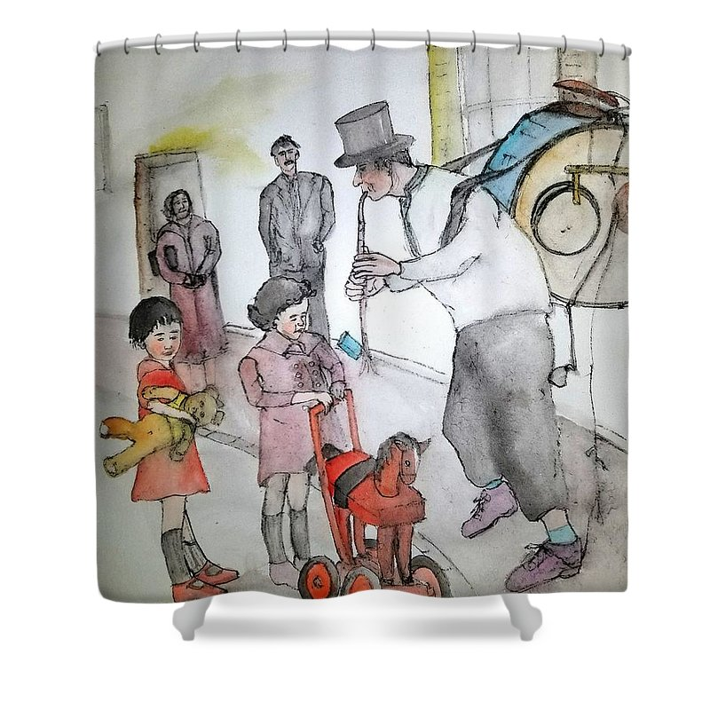 Shower Curtain featuring the painting The Music Man by Debbi Saccomanno Chan