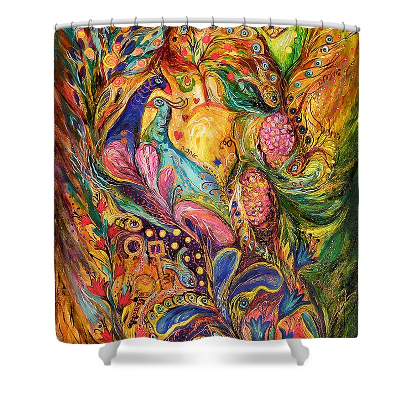 Original Shower Curtain featuring the painting The Mystery Of Three Keys by Elena Kotliarker