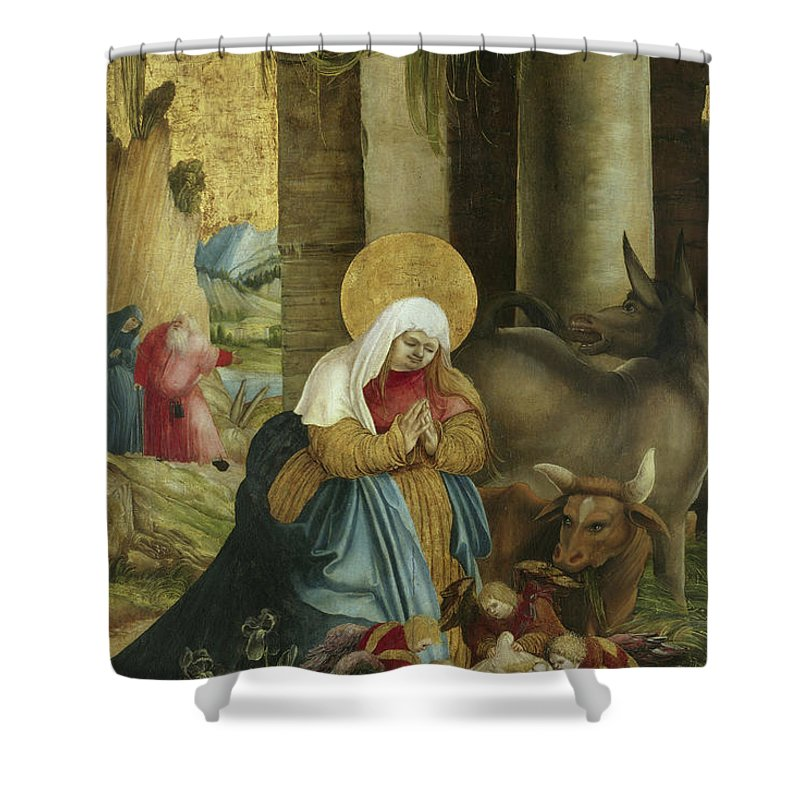 Nativity Shower Curtain Featuring The Painting By Master Of Pulkau
