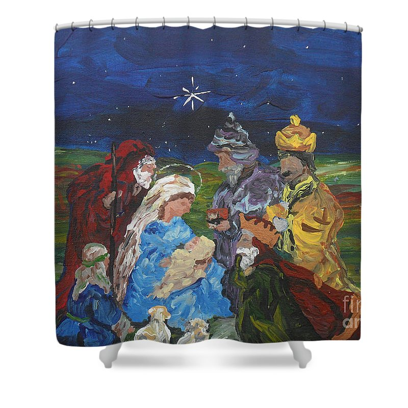 Nativity Shower Curtain featuring the painting The Nativity by Reina Resto