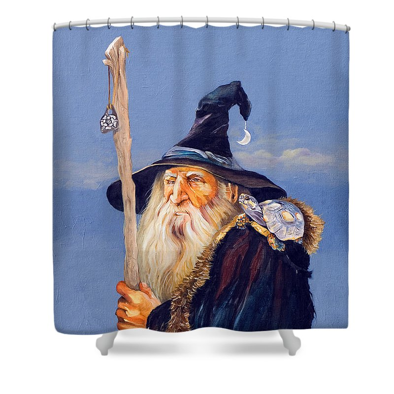 Wizard Shower Curtain featuring the painting The Navigator by J W Baker