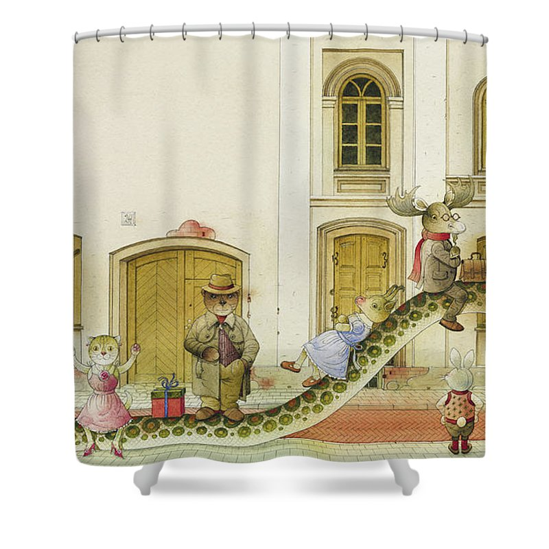 Snake Buss Stop Old Town Street Animals House Traffic Illustration Children Book Rabbit Fox Bear Cat Deer Dog Goat Owl Shower Curtain featuring the painting The Neighbor around the Corner07 by Kestutis Kasparavicius