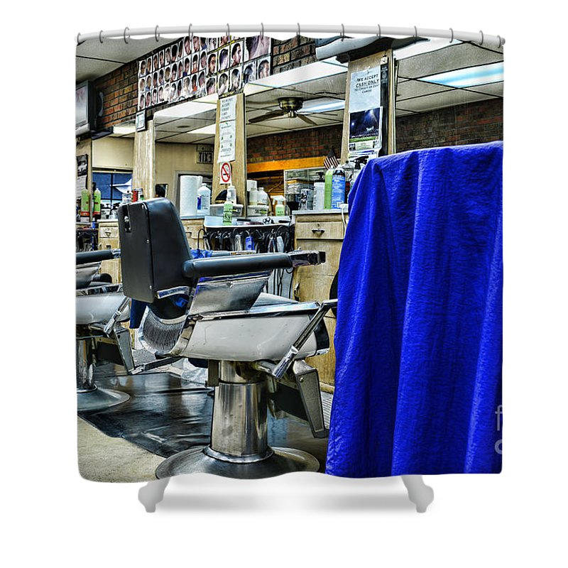 Vintage Barber Shower Curtain Featuring The Photograph Neighborhood Barbershop By Paul Ward