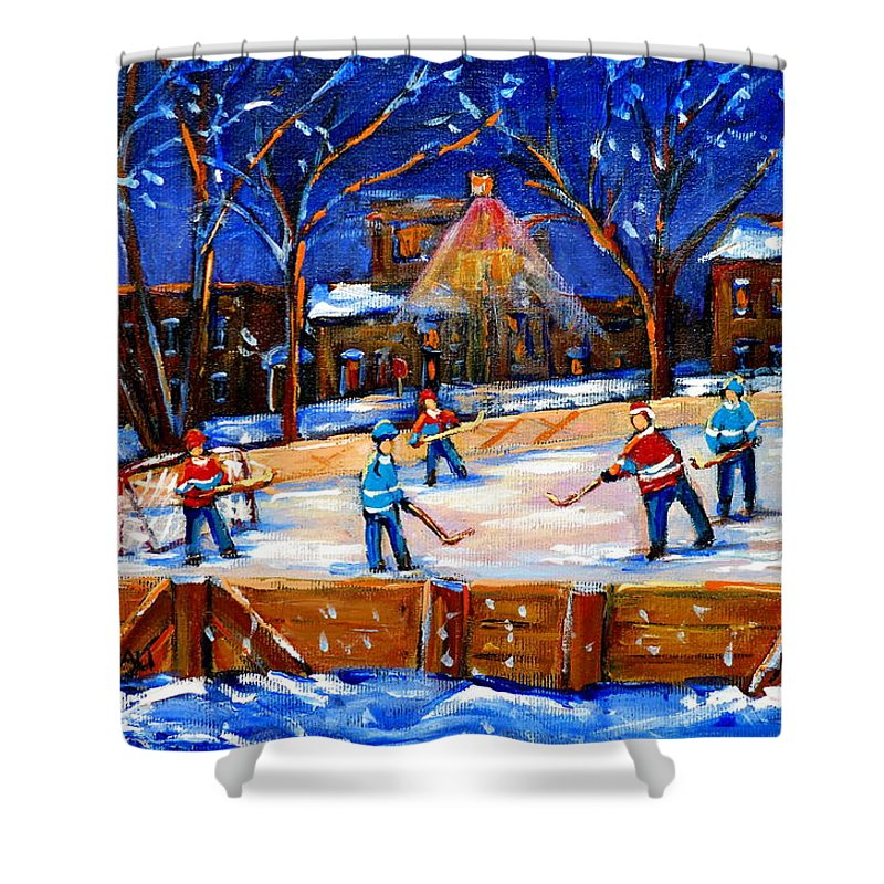 Montreal Shower Curtain featuring the painting The Neighborhood Hockey Rink by Carole Spandau