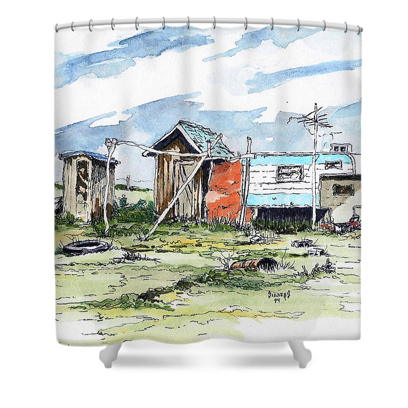 Economy Shower Curtain featuring the painting The New American Dream by Sam Sidders