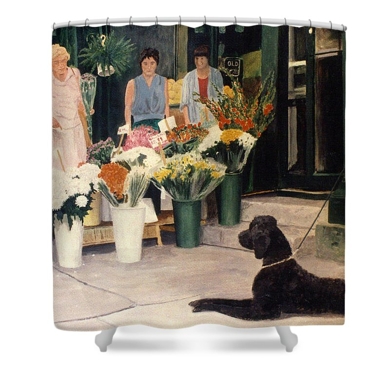 Mums Shower Curtain featuring the painting The New Deal by Steve Karol