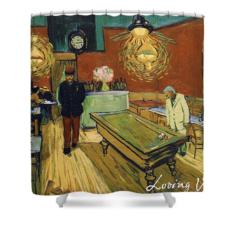 Shower Curtain featuring the painting The Night Cafe by Jerzy Lisak
