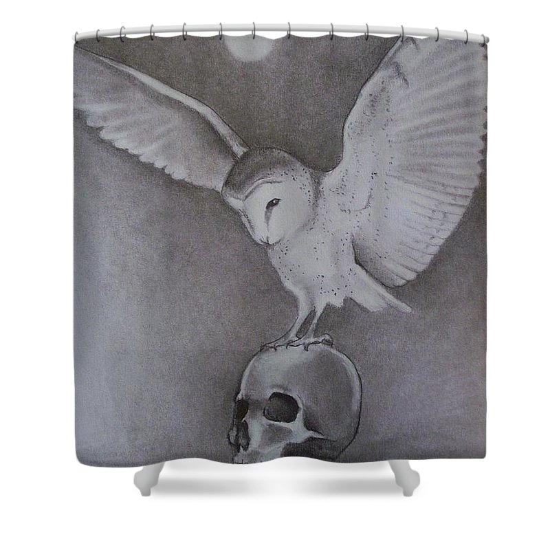 Owl Shower Curtain featuring the drawing The Night Flier by Amber Stanford