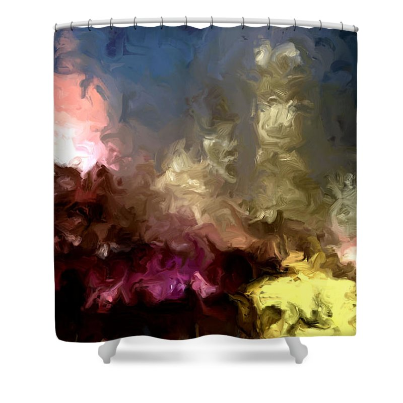 Pink Shower Curtain featuring the painting The Night Moves by Wayne Bonney