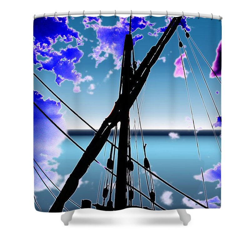 Seattle Shower Curtain featuring the digital art The Nina Mast by Tim Allen