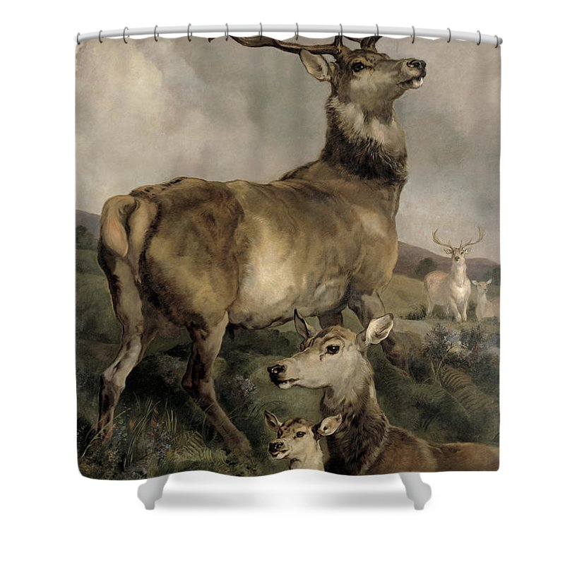 The Shower Curtain featuring the painting The Noble Beast by Sir Edwin Landseer