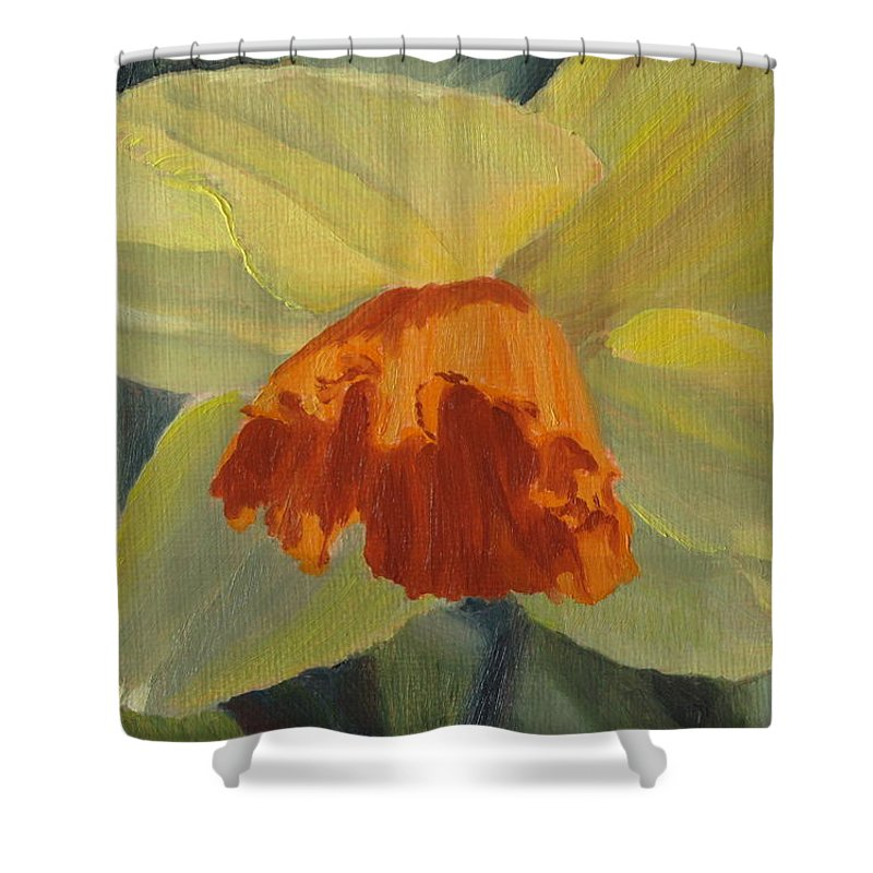 Flower Shower Curtain featuring the painting The Nodding Daffodil by Lea Novak