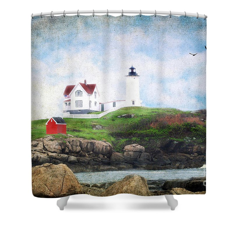 Architectural Shower Curtain featuring the photograph The Nubble by Darren Fisher