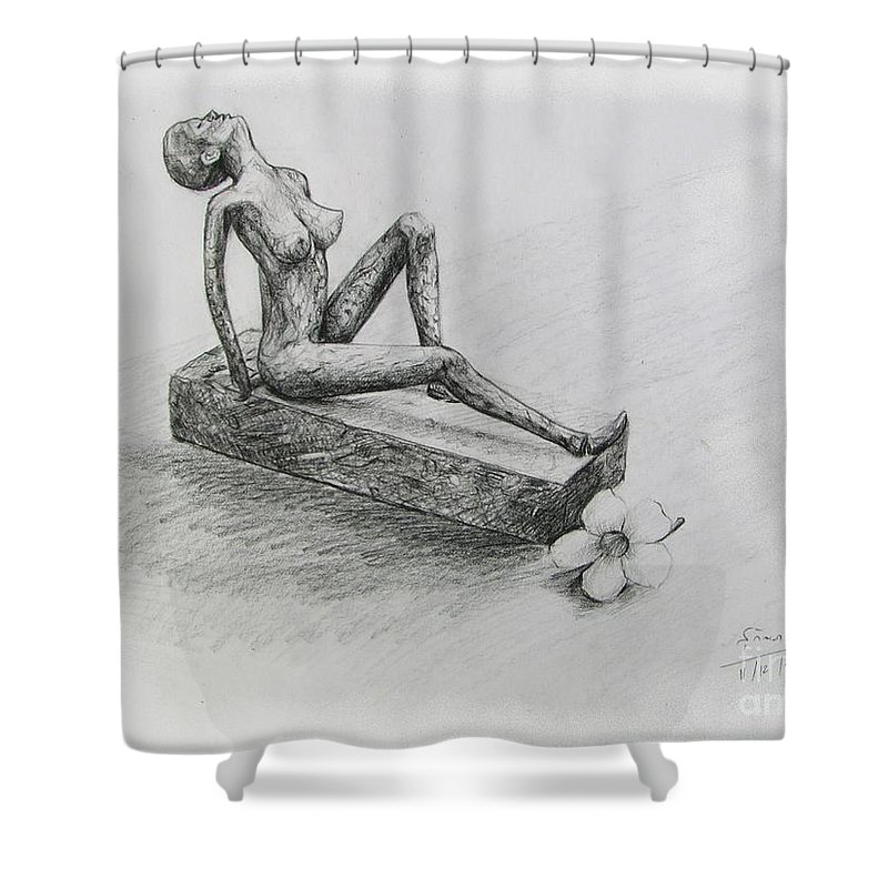 Nude Shower Curtain featuring the drawing The Nude Sculpture by Sukalya Chearanantana