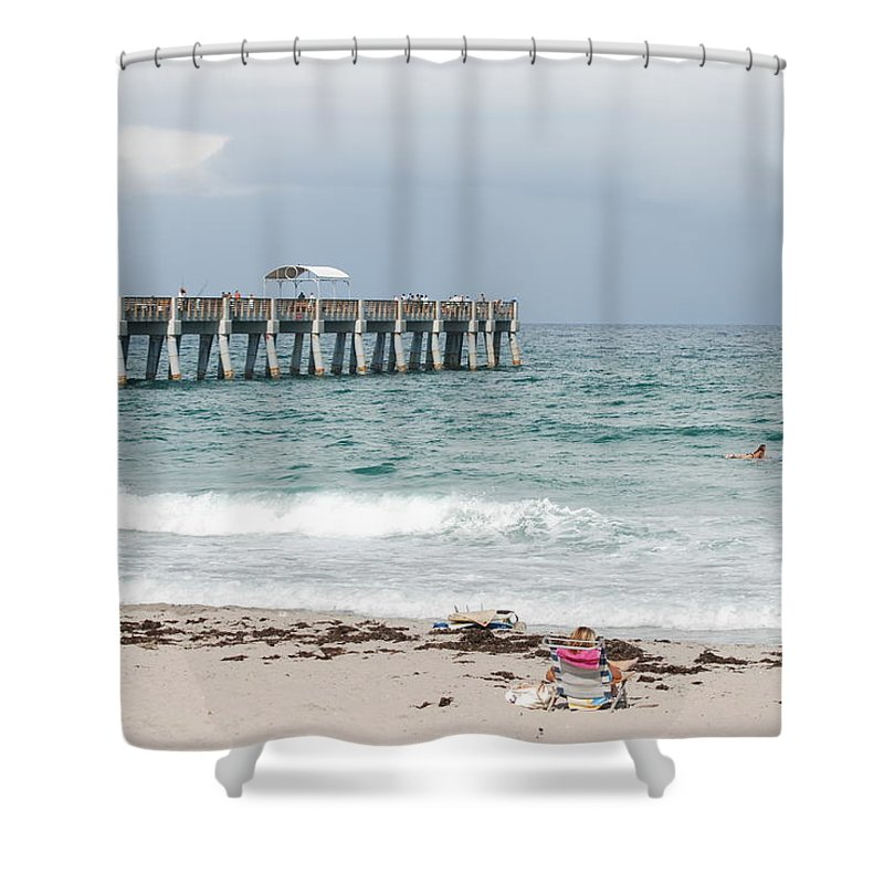 Women Shower Curtain featuring the photograph The Ocean Pier by Rob Hans