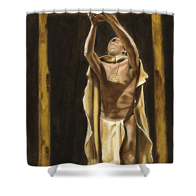 Sepia Shower Curtain featuring the painting The Offering by Mary Rogers