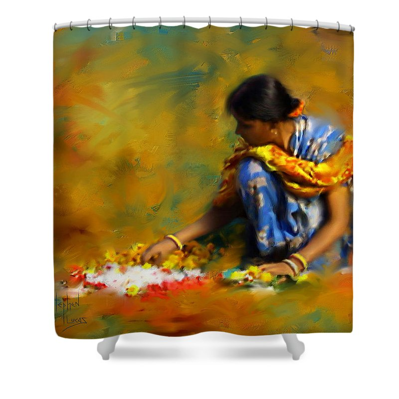 Spiritual Shower Curtain featuring the digital art The Offerings by Stephen Lucas