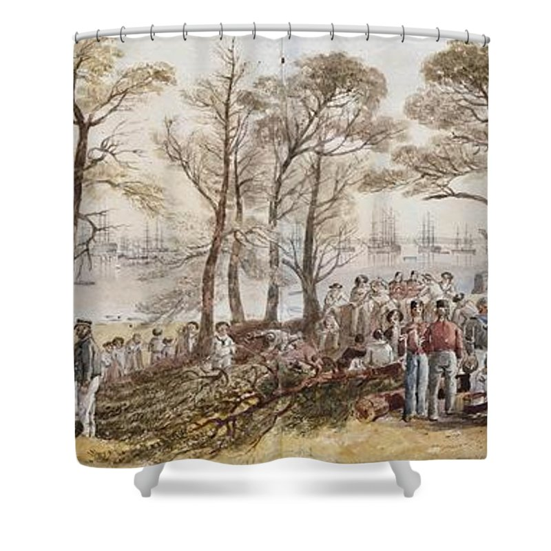 John Wilson Carmichael (newcastle-on-tyne 1799-1868 Scarborough) The Officers And Seaman Of The Fleet On Shore At Nargen Shower Curtain featuring the painting The Officers And Seaman Of The Fleet On Shore At Nargen by MotionAge Designs