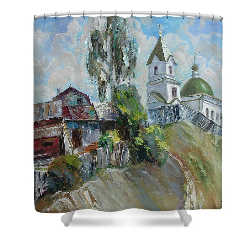 Oil Shower Curtain featuring the painting The Old And New by Sergey Ignatenko