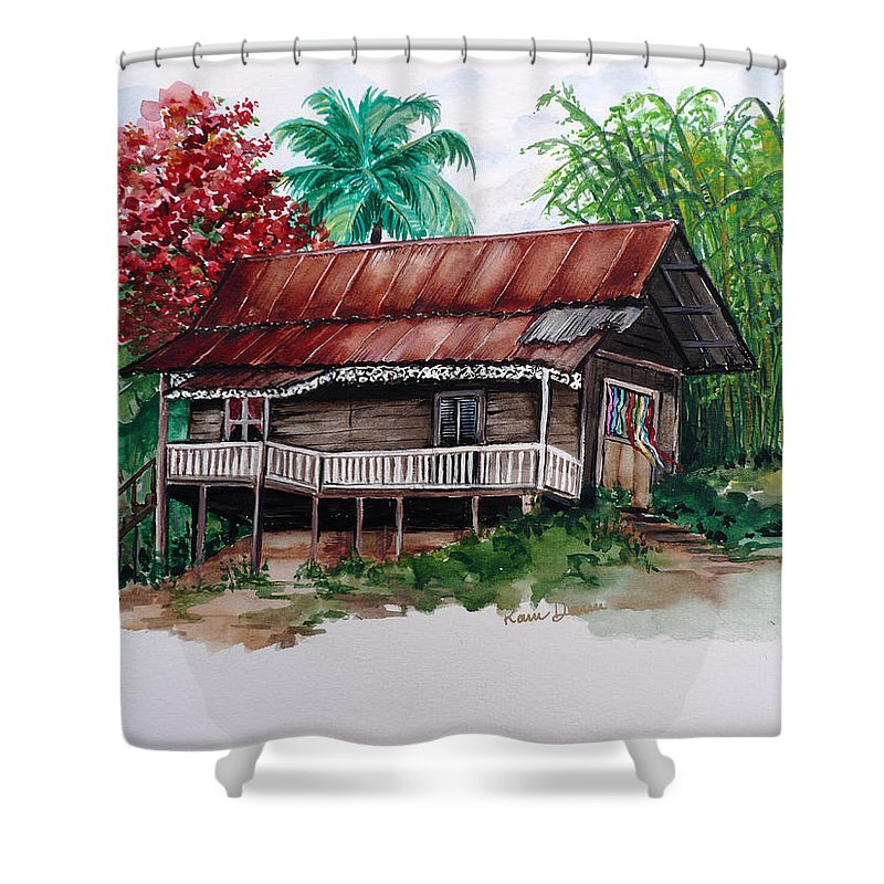 Tropical Painting Poincianna Painting Caribbean Painting Old House Painting Cocoa House Painting Trinidad And Tobago Painting  Tropical Painting Flamboyant Painting Poinciana Red Greeting Card Painting Shower Curtain featuring the painting The Old Cocoa House by Karin Dawn Kelshall- Best