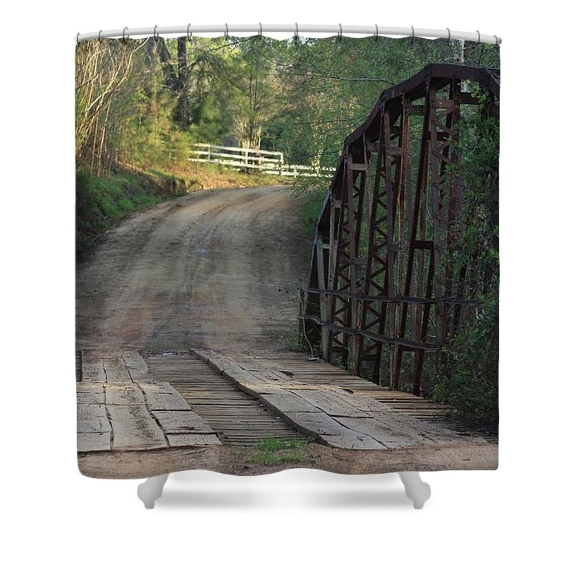 Bridge Shower Curtain featuring the photograph The Old Country Bridge by Kim Henderson