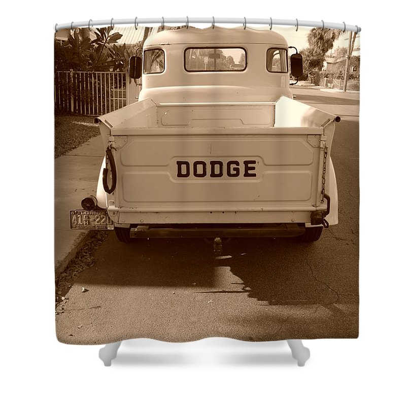 Sepia Shower Curtain featuring the photograph The Old Dodge by Rob Hans