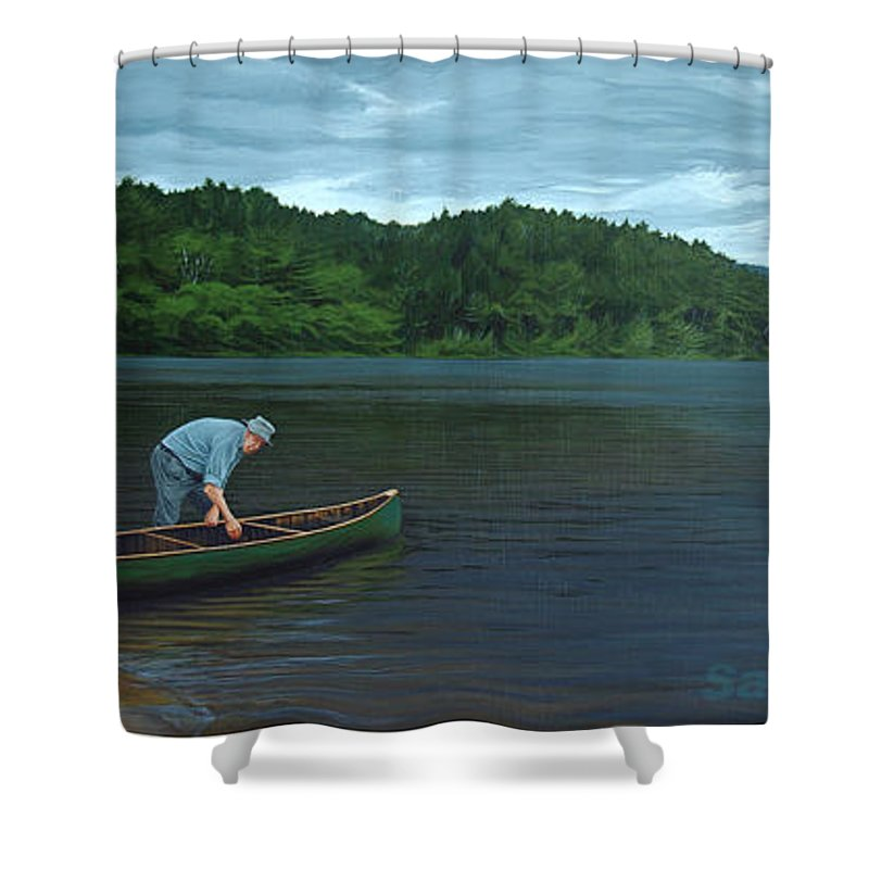 Landscape Shower Curtain featuring the painting The Old Green Canoe by Jan Lyons