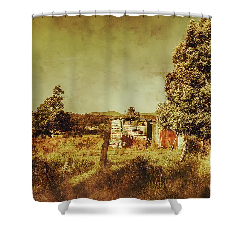 Tasmania Shower Curtain featuring the photograph The Old Hay Barn by Jorgo Photography - Wall Art Gallery