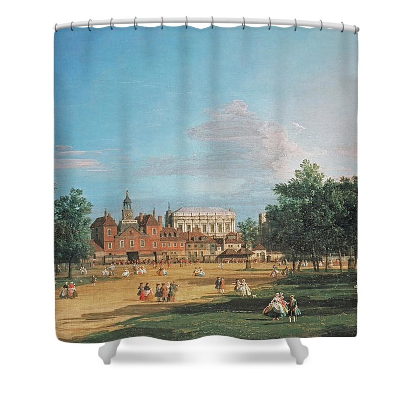 London The Old Horse Guards And The Banqueting Hall By Canaletto Shower Curtain featuring the painting The Old Horse Guards by Canaletto