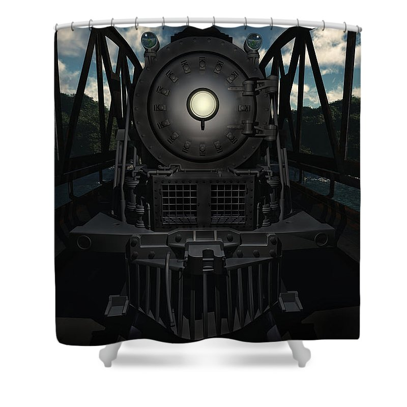 Trains Shower Curtain featuring the digital art The Old Iron Bridge by Richard Rizzo